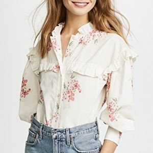 Rebecca Taylor Maia Ruffle floral shirt